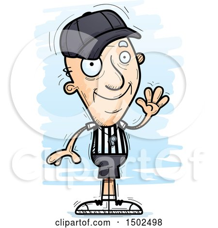 Clipart of a Waving White Senior Male Referee - Royalty Free Vector Illustration by Cory Thoman