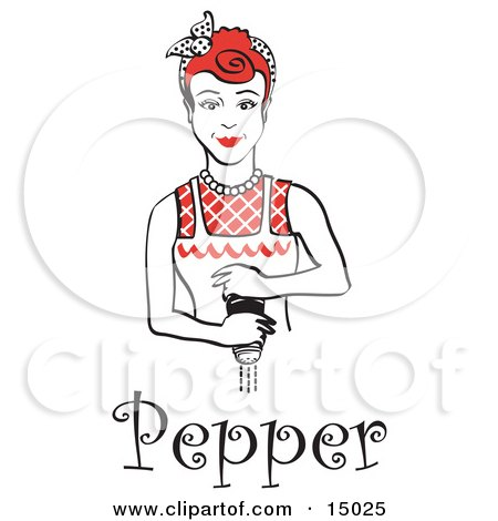Red Haired Housewife Or Maid Woman Grinding Fresh Pepper While Cooking, With Text Clipart Illustration by Andy Nortnik