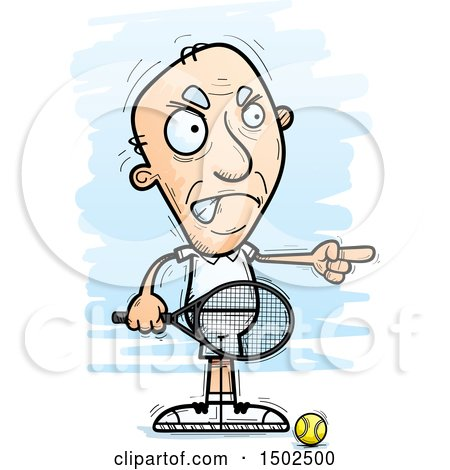Clipart of a Mad Pointing Caucasian Senior Male Tennis Player - Royalty Free Vector Illustration by Cory Thoman