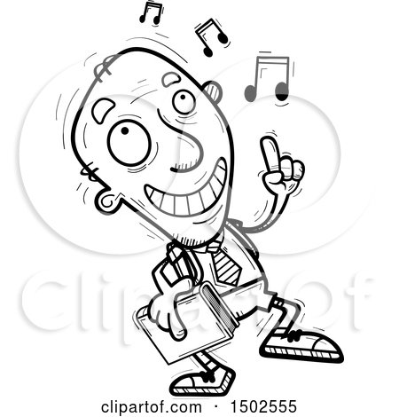 Clipart of a Senior Male College Student Doing a Happy Dance - Royalty Free Vector Illustration by Cory Thoman