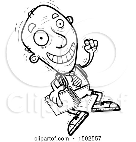 Clipart of a Jumping Senior Male College Student - Royalty Free Vector Illustration by Cory Thoman
