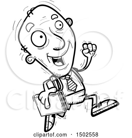 Clipart of a Running Senior Male College Student - Royalty Free Vector Illustration by Cory Thoman