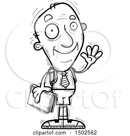 Clipart of a Waving Senior Male College Student - Royalty Free Vector Illustration by Cory Thoman