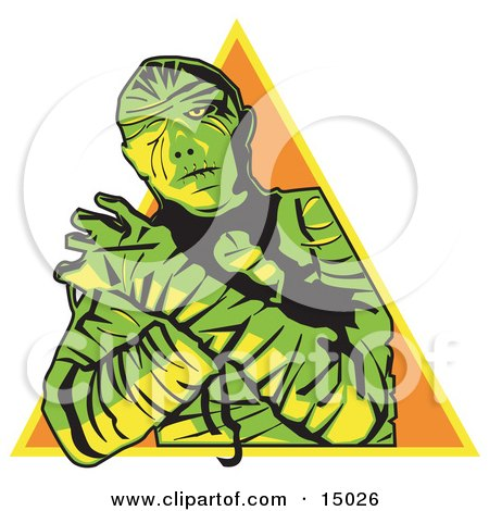 Mummy Wrapped Up With His Arms Crossed In Front Of Him And Cast In Green And Yellow Lighting Over An Orange Triangle Clipart Illustration by Andy Nortnik