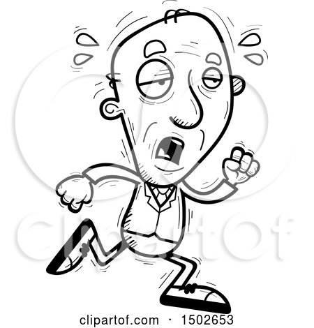 Clipart of a Tired Running  Senior Business Man - Royalty Free Vector Illustration by Cory Thoman