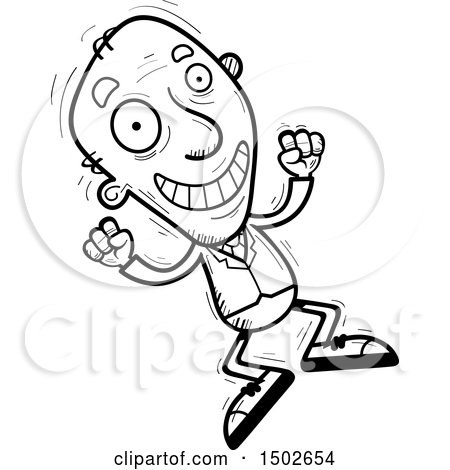Clipart of a Jumping Energetic  Senior Business Man - Royalty Free Vector Illustration by Cory Thoman