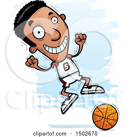 Clipart of a Jumping Black Male Basketball Player - Royalty Free Vector Illustration by Cory Thoman