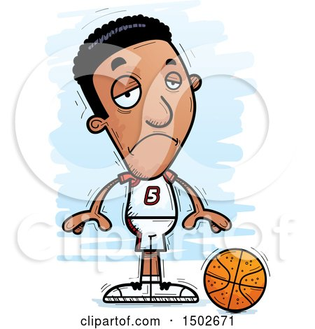 Clipart of a Sad Black Male Basketball Player - Royalty Free Vector Illustration by Cory Thoman