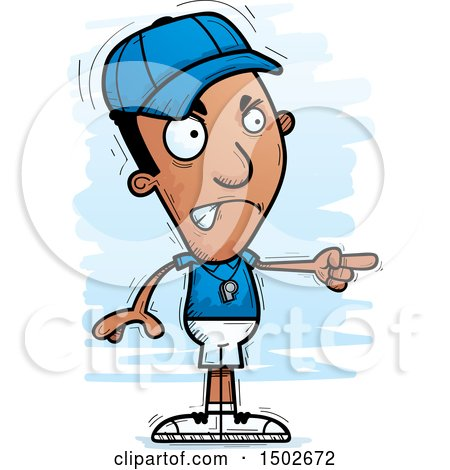 Clipart of a Mad Pointing Black Male Coach - Royalty Free Vector Illustration by Cory Thoman