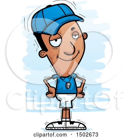 Clipart of a Confident Black Male Coach - Royalty Free Vector Illustration by Cory Thoman