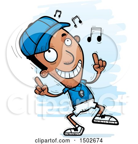 Clipart of a Black Male Coach Doing a Happy Dance - Royalty Free Vector Illustration by Cory Thoman