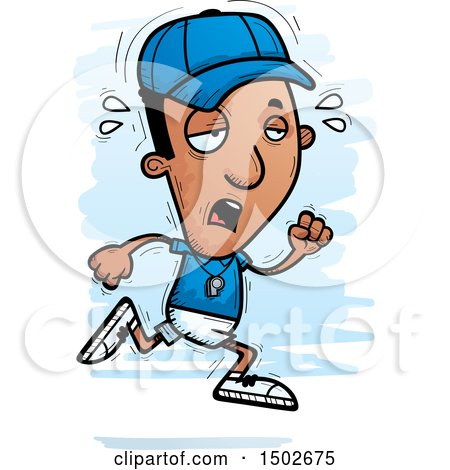 Clipart of a Tired Running Black Male Coach - Royalty Free Vector Illustration by Cory Thoman
