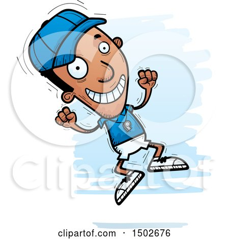 Clipart of a Jumping Black Male Coach - Royalty Free Vector Illustration by Cory Thoman