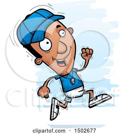 Clipart of a Running Black Male Coach - Royalty Free Vector Illustration by Cory Thoman