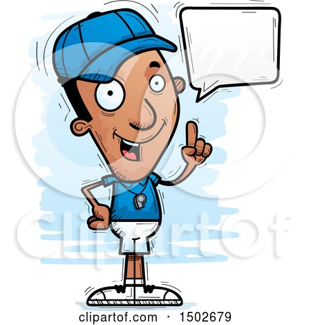 Clipart of a Talking Black Male Coach - Royalty Free Vector Illustration by Cory Thoman