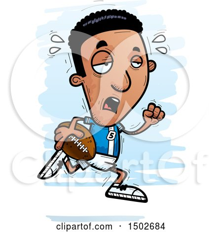 Clipart of a Tired Running Black Male Football Player - Royalty Free Vector Illustration by Cory Thoman