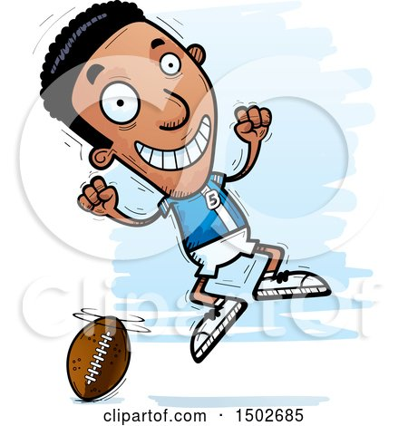 Clipart of a Jumping Black Male Football Player - Royalty Free Vector Illustration by Cory Thoman
