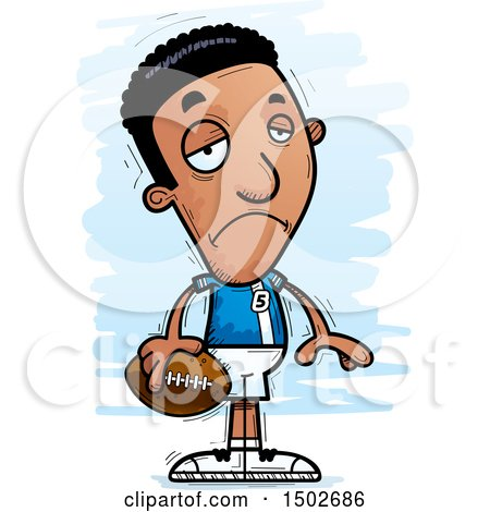 Clipart of a Sad Black Male Football Player - Royalty Free Vector Illustration by Cory Thoman