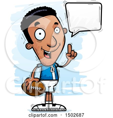 Clipart of a Talking Black Male Football Player - Royalty Free Vector Illustration by Cory Thoman