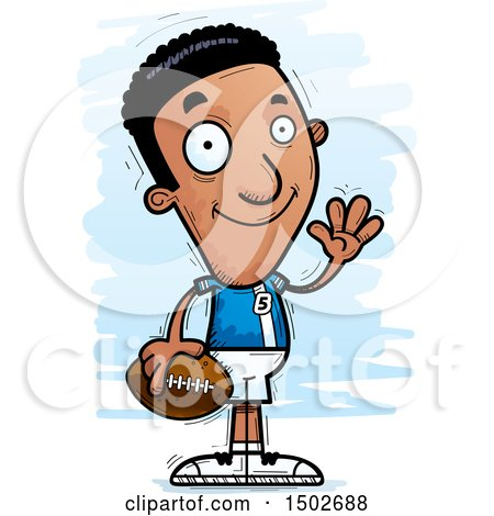 Clipart of a Waving Black Male Football Player - Royalty Free Vector Illustration by Cory Thoman