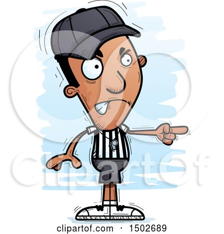 Clipart of a Mad Pointing Black Male Referee - Royalty Free Vector Illustration by Cory Thoman