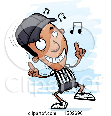 Clipart of a Black Male Referee Doing a Happy Dance - Royalty Free Vector Illustration by Cory Thoman