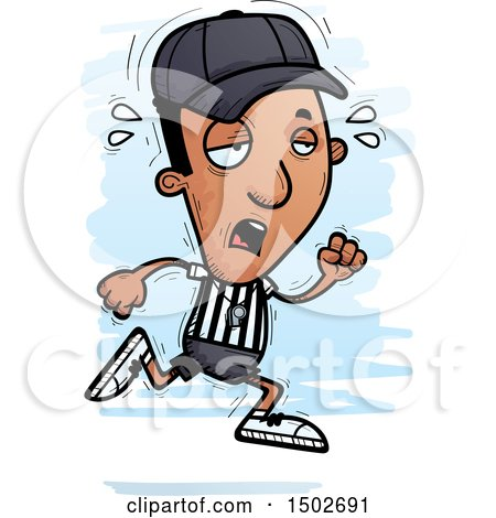 Clipart of a Tired Running Black Male Referee - Royalty Free Vector Illustration by Cory Thoman