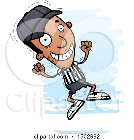Clipart of a Jumping Black Male Referee - Royalty Free Vector Illustration by Cory Thoman