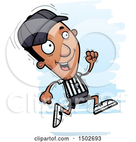 Clipart of a Running Black Male Referee - Royalty Free Vector Illustration by Cory Thoman