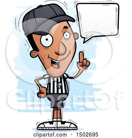 Clipart of a Talking Black Male Referee - Royalty Free Vector Illustration by Cory Thoman