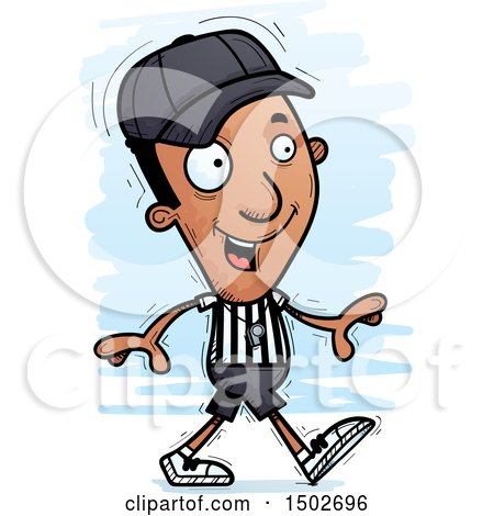 Clipart of a Walking Black Male Referee - Royalty Free Vector Illustration by Cory Thoman