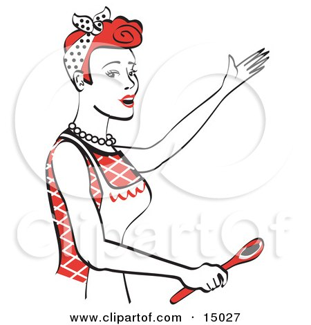 Happy Red Haired Housewife Or Maid Woman In An Apron, Singing And Using A Spoon While Baking In The Kitchen Clipart Illustration by Andy Nortnik