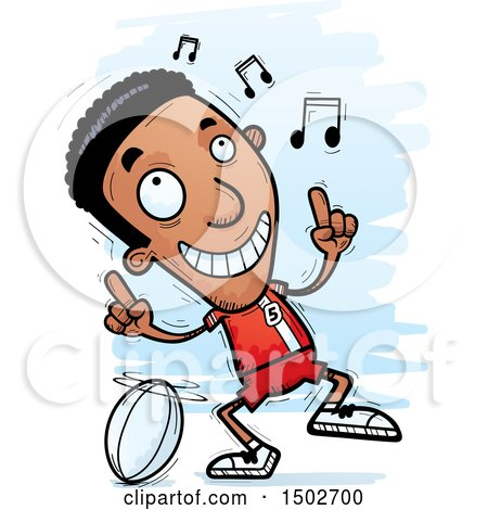 Clipart of a Black Male Rugby Player Doing a Happy Dance - Royalty Free Vector Illustration by Cory Thoman