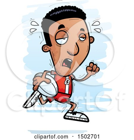Clipart of a Tired Running Black Male Rugby Player - Royalty Free Vector Illustration by Cory Thoman