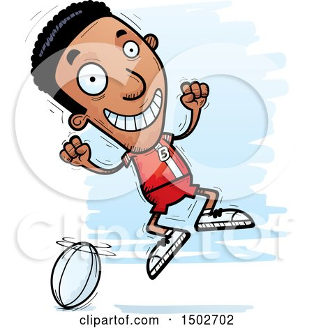 Clipart of a Jumping Black Male Rugby Player - Royalty Free Vector Illustration by Cory Thoman