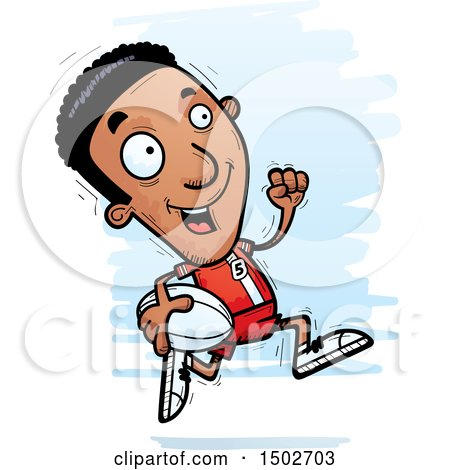 Clipart of a Running Black Male Rugby Player - Royalty Free Vector Illustration by Cory Thoman