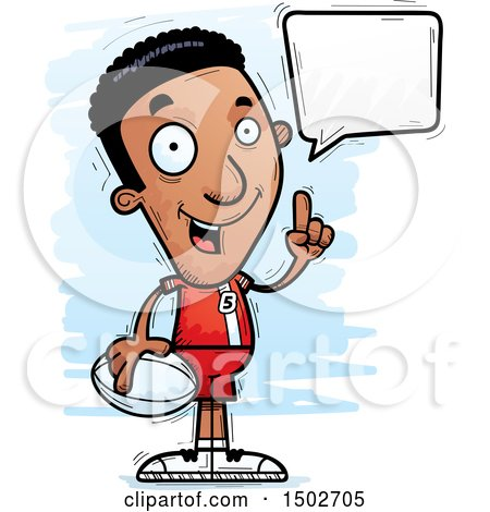 Clipart of a Talking Black Male Rugby Player - Royalty Free Vector Illustration by Cory Thoman