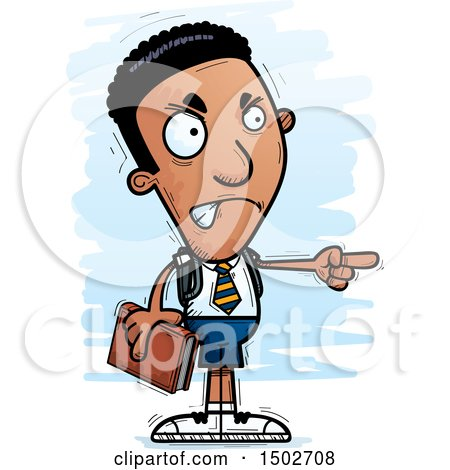 Clipart of a Mad Pointing Black Male College Student - Royalty Free Vector Illustration by Cory Thoman