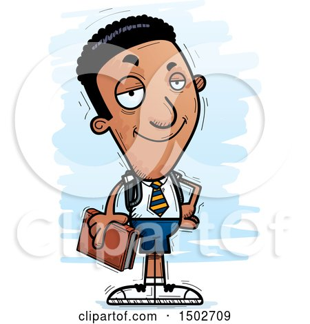 Clipart of a Confident Black Male College Student - Royalty Free Vector Illustration by Cory Thoman