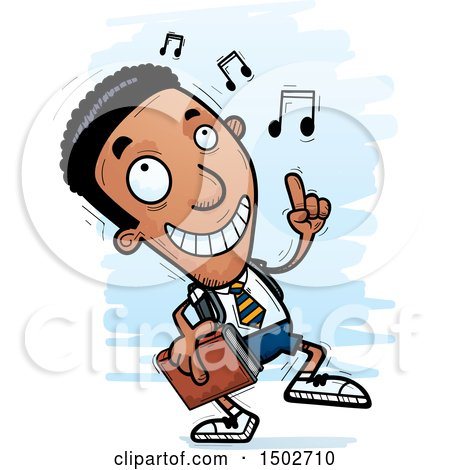 Clipart of a Black Male College Student Doing a Happy Dance - Royalty Free Vector Illustration by Cory Thoman