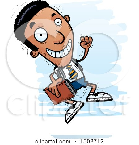 Clipart of a Jumping Black Male College Student - Royalty Free Vector Illustration by Cory Thoman