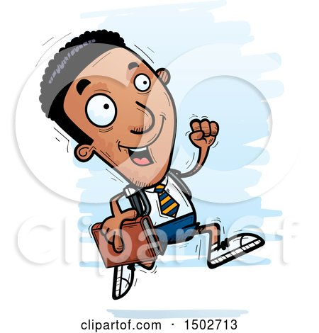 Clipart of a Running Black Male College Student - Royalty Free Vector Illustration by Cory Thoman