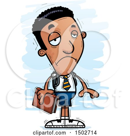 Clipart of a Sad Black Male College Student - Royalty Free Vector Illustration by Cory Thoman