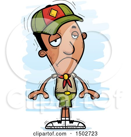 Clipart of a Sad Black Male Scout - Royalty Free Vector Illustration by Cory Thoman