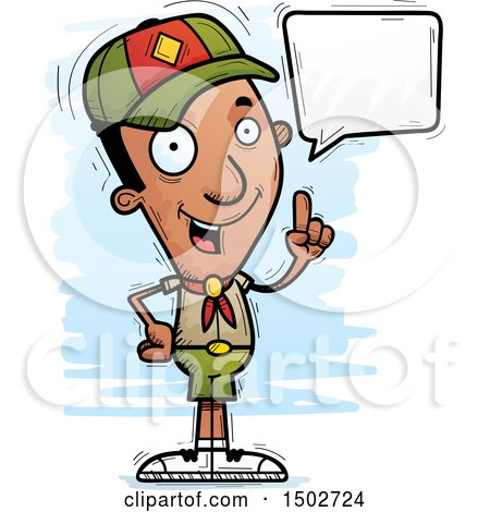 Clipart of a Talking Black Male Scout - Royalty Free Vector Illustration by Cory Thoman