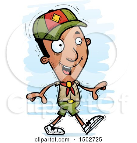 Clipart of a Walking Black Male Scout - Royalty Free Vector Illustration by Cory Thoman