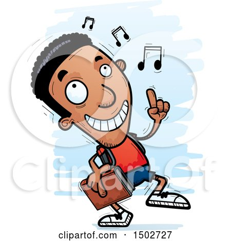 Clipart of a Black Male Community College Student Doing a Happy Dance - Royalty Free Vector Illustration by Cory Thoman