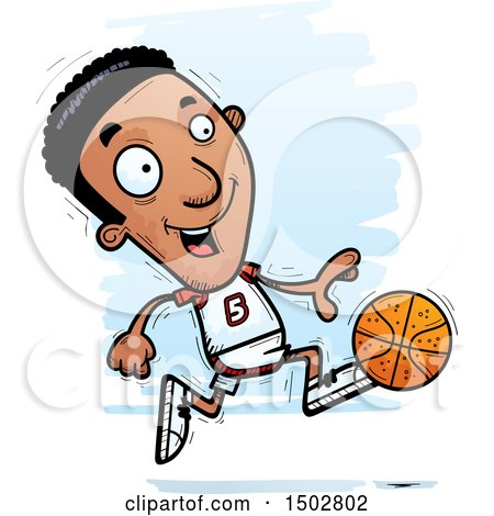 Clipart of a Running Black Male Basketball Player - Royalty Free Vector Illustration by Cory Thoman