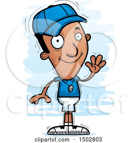 Clipart of a Waving Black Male Coach - Royalty Free Vector Illustration by Cory Thoman