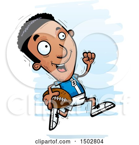 Clipart of a Running Black Male Football Player - Royalty Free Vector Illustration by Cory Thoman